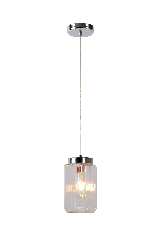 Lucide EPICE Pendel Vierk. E27 L11 B11 H23cm Helder Glas