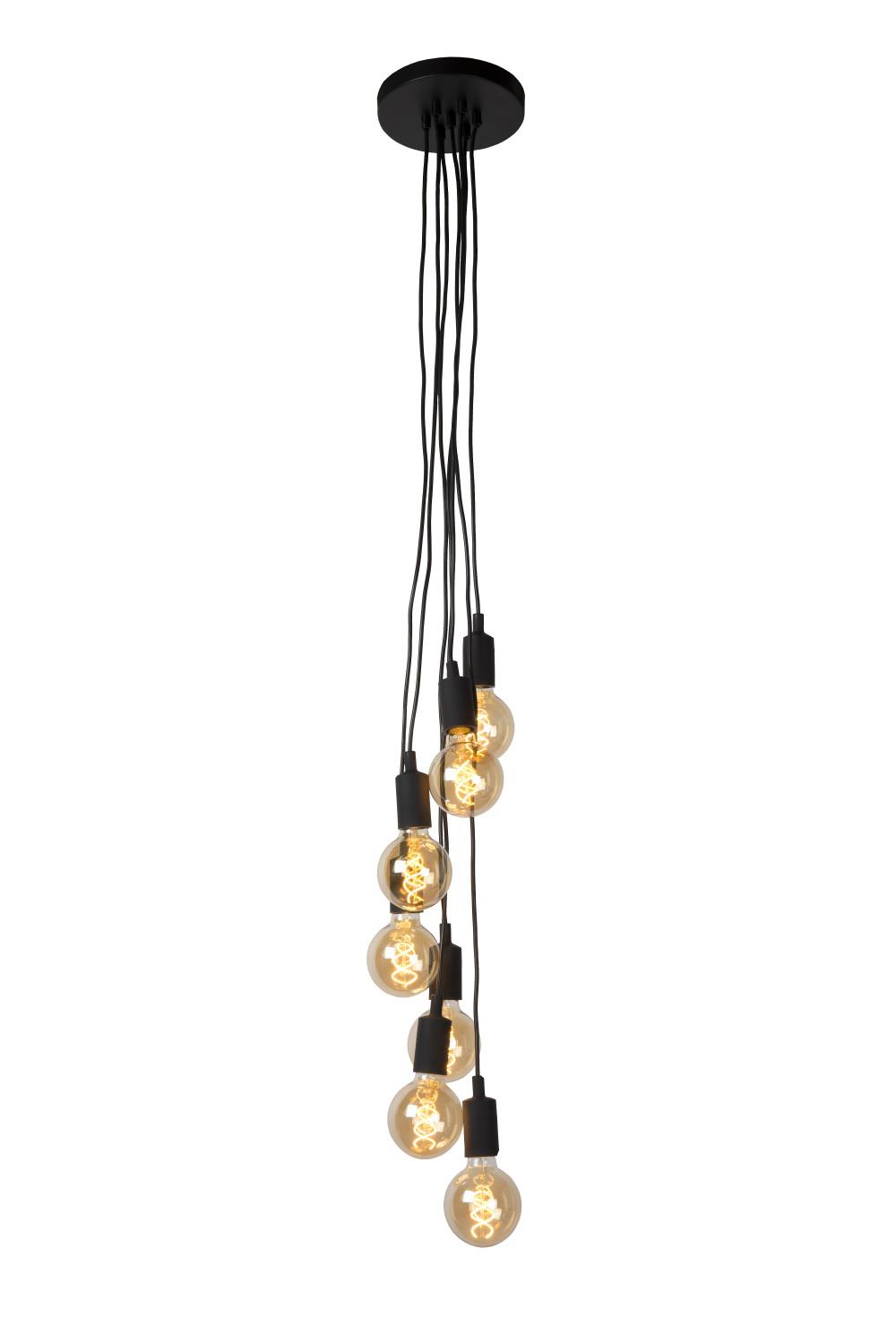 Lucide FIX MULT. Hanglamp-Zwart-7xE27-60W-Metaal