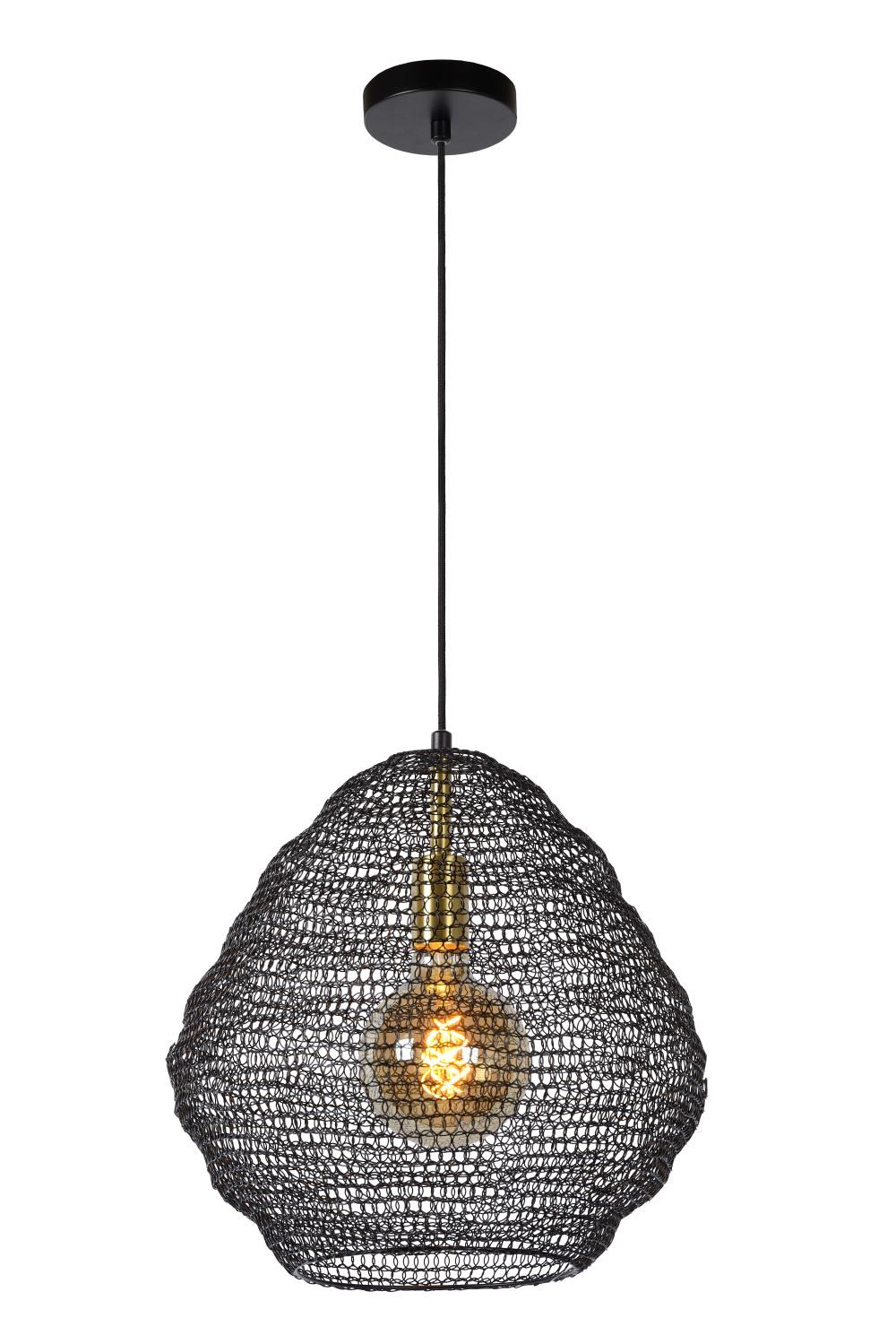 Lucide SAAR Hanglamp E27/60W Ø 38 cm Zwart