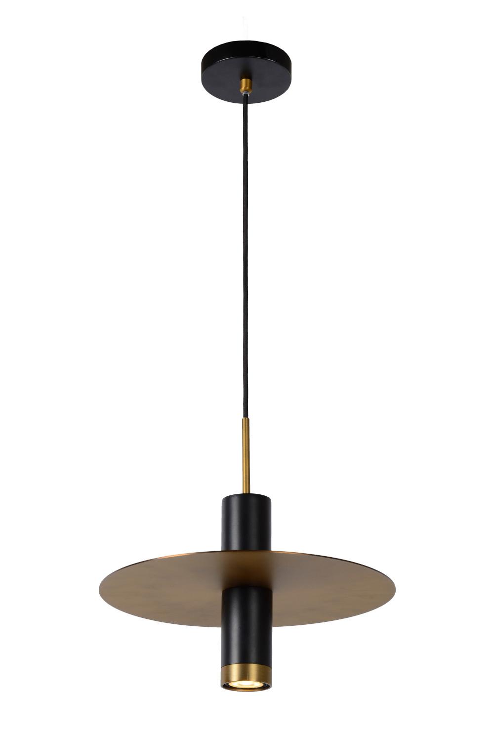 Lucide SELIN Hanglamp 1x GU10/35W Zwart/ mat geelkoper
