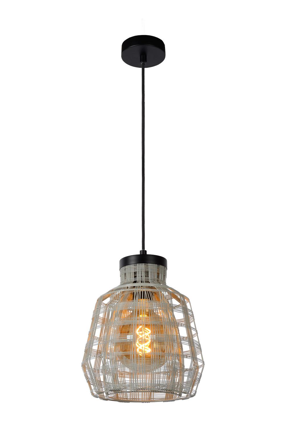 Lucide FIONA Hanglamp-Grijs-Ø25-1xE27-60W-Metaal