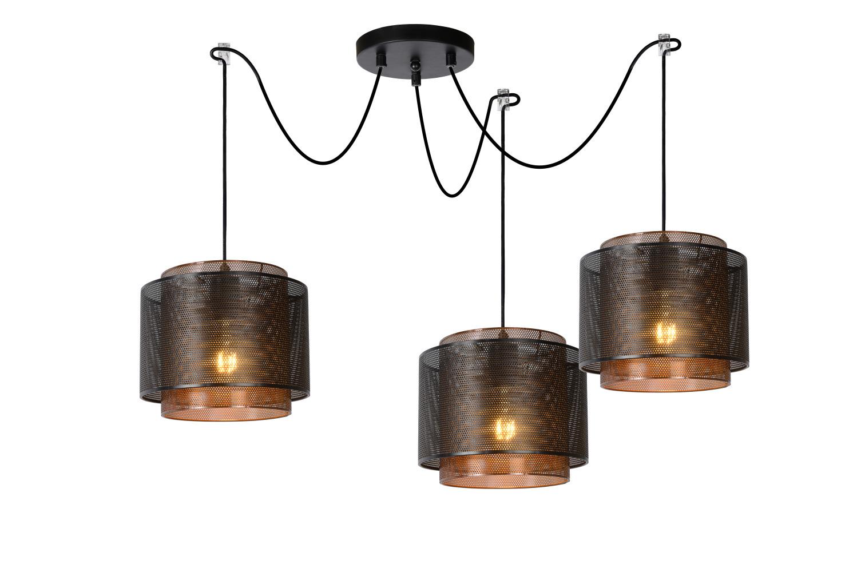 Lucide ORRIN Hanglamp-Zwart-Ø25-3xE27-60W-Metaal