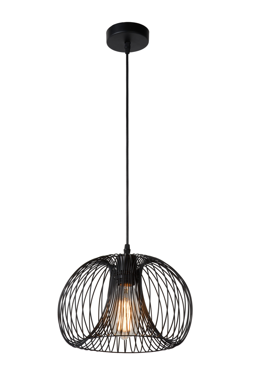 Lucide VINTI Hanglamp-Zwart-Ø30-1xE27-60W-Metaal