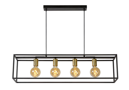 Lucide RUBEN  Hanglamp 4x E27 40W Zwart / mat goud