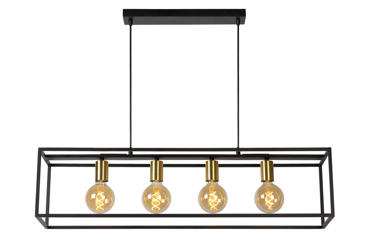 Lucide RUBEN Hanglamp 4x E27 40W Zwart - mat goud