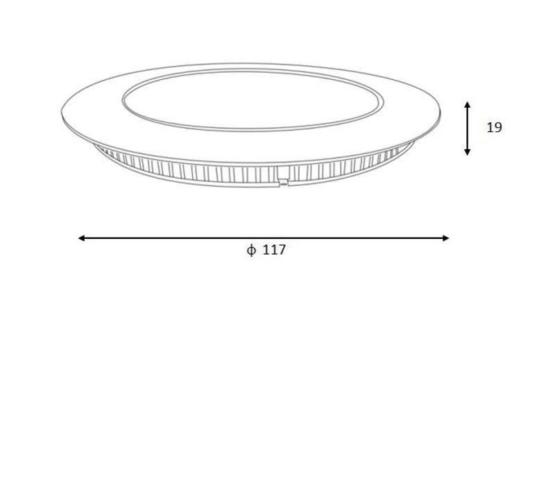 BRICE-LED Inbouw Dimbaar 8W Rond D11cm IP40 Wit