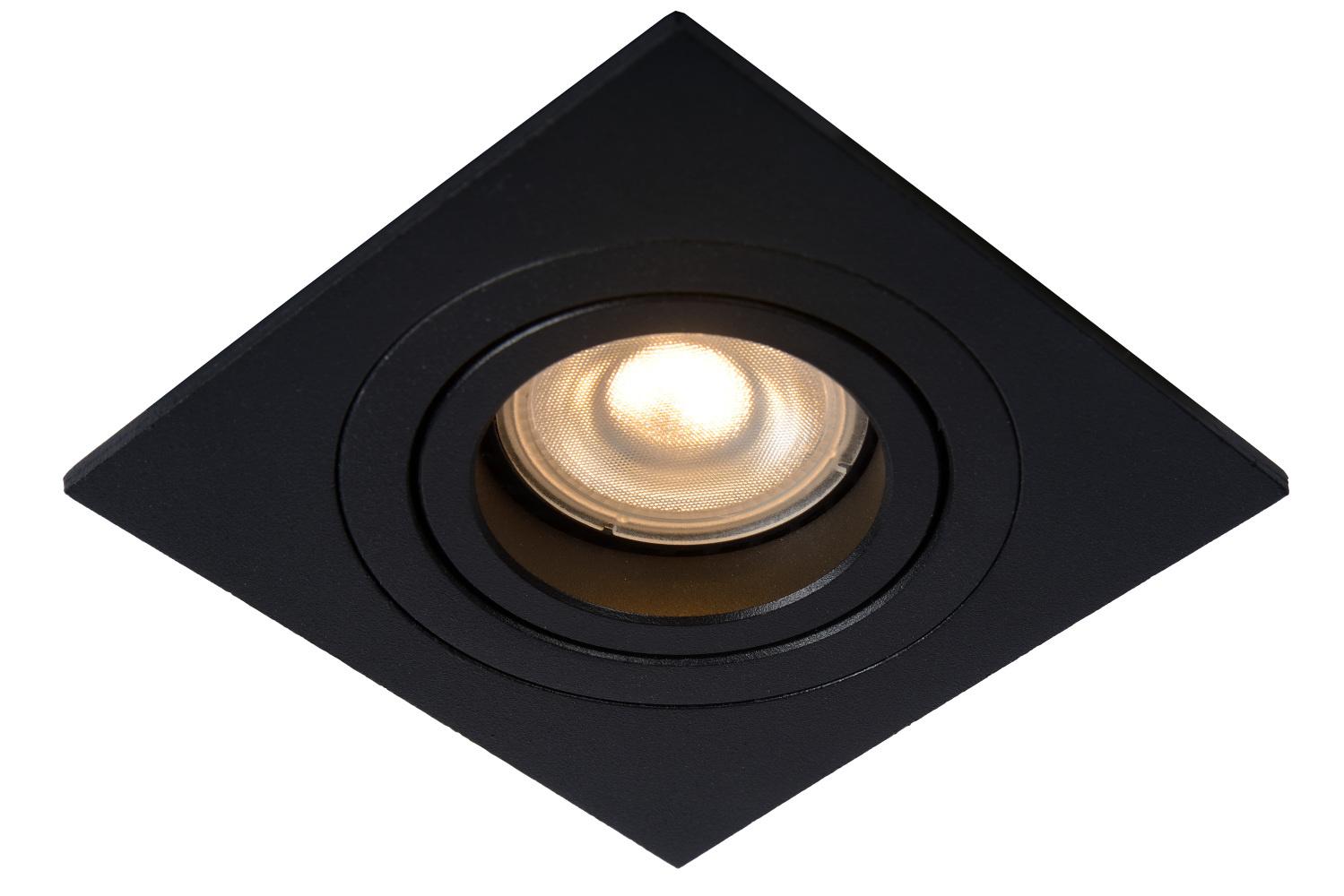 Lucide TUBE Inbouwspot GU10 Vierkant 9.2cm Zwart