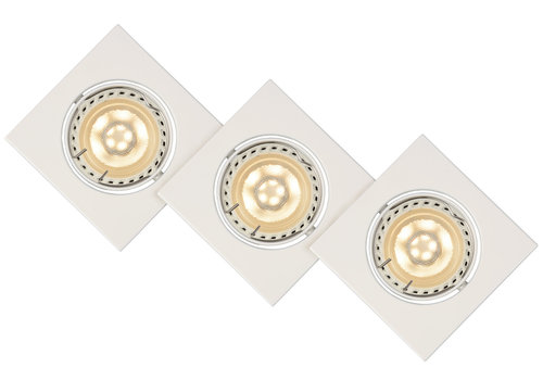 Lucide Inbouwspot Vierk LED 3xGU10/5W 3000K 8/8/10.5