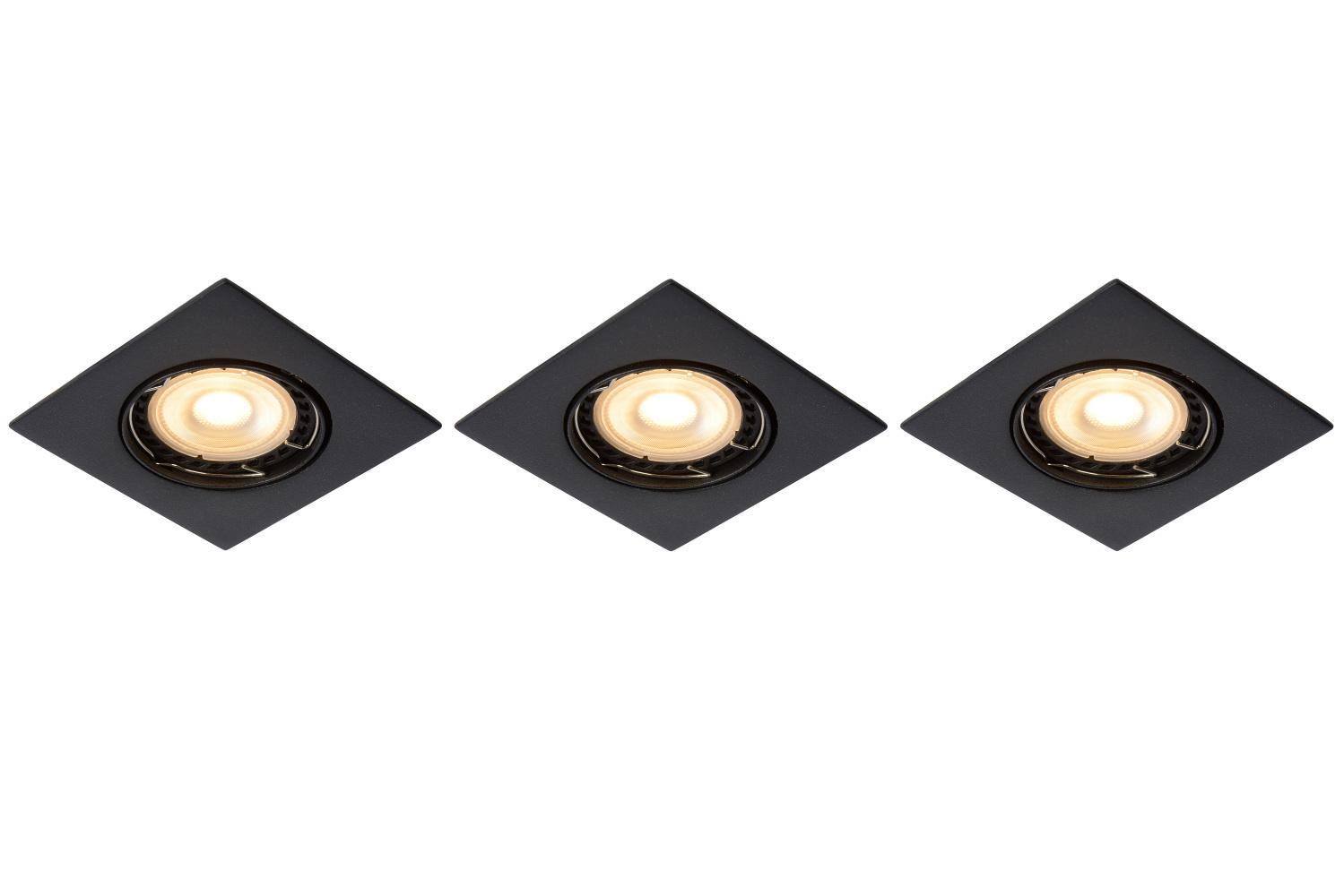 Lucide FOCUS Inbouwspot-Zwart-LED Dimb.-3xGU10-5W-3000K