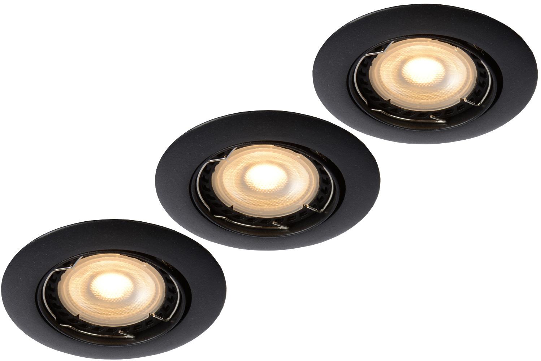 Lucide FOCUS Inbouwspot-Zwart-Ø8,1-LED Dimb.-3xGU10-5W