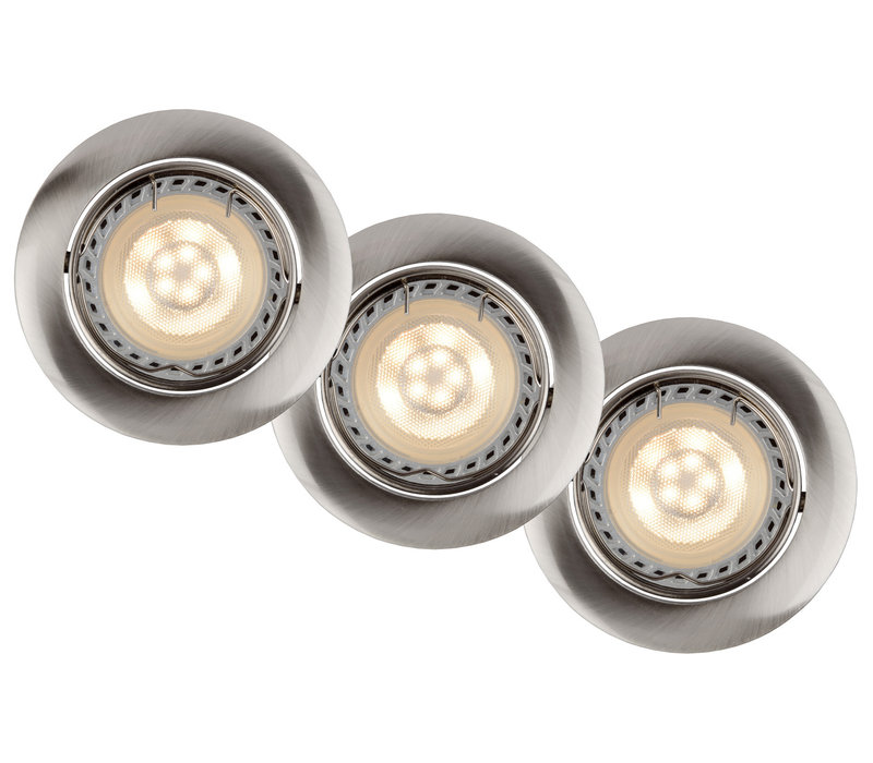 Inbouwspot Rond LED 3xGU10/5W dimb 3000K Ø8,1cm