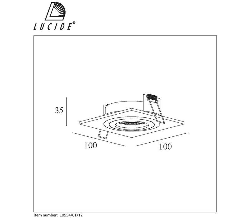 COS Inbouwspot Vierkant 10x10cm GU10/35W Aluminium