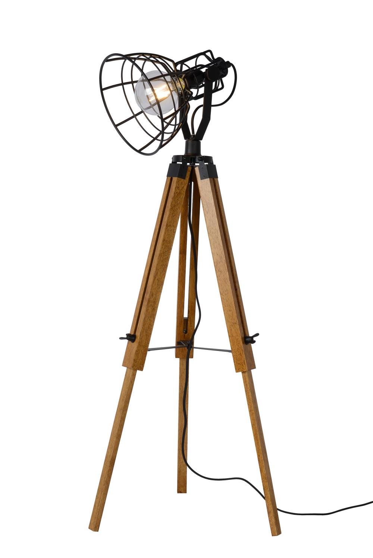 Lucide JOSHUA Vloerlamp-Zwart-Ø42-1xE27-60W-Hout