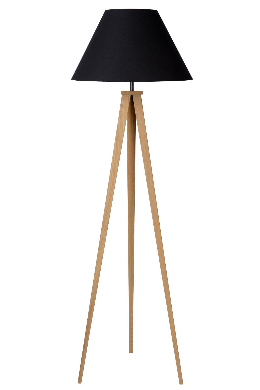 Lucide JOLLI Vloerlamp E27 D50 H153cm Hout/Kap Zwart