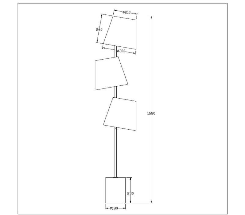 ARJAN Vloerlamp 3xE14 H168cm 3xKap 30/26cm Taupe