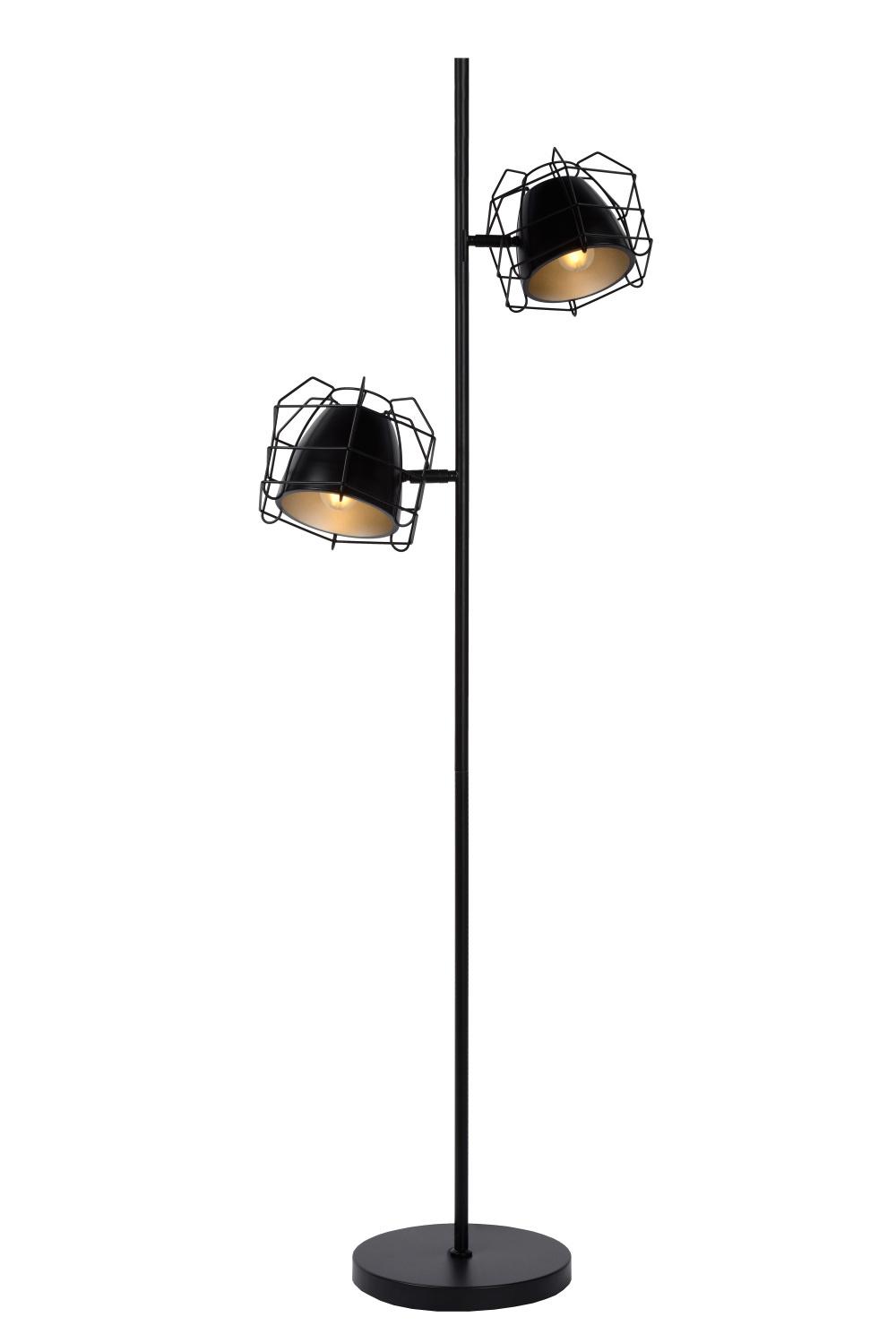 Lucide GRID Vloerlamp 2xE14 H140cm Zwart/Zilver