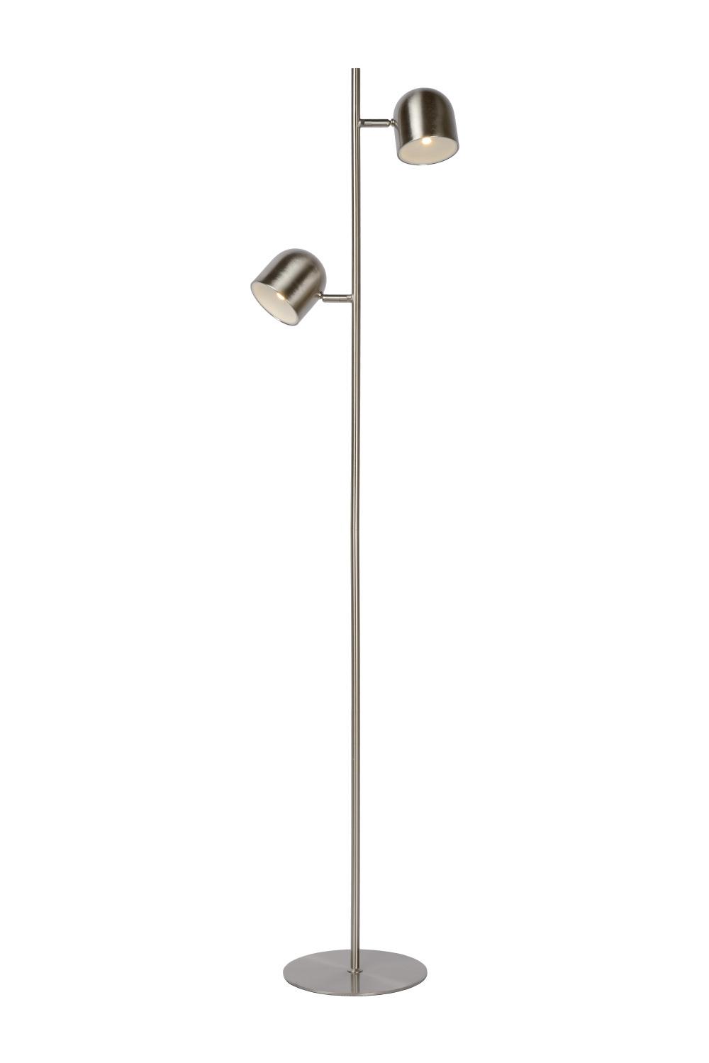 Lucide SKANSKA-LED Vloerlamp 2x5W H141cm Mat Chroom