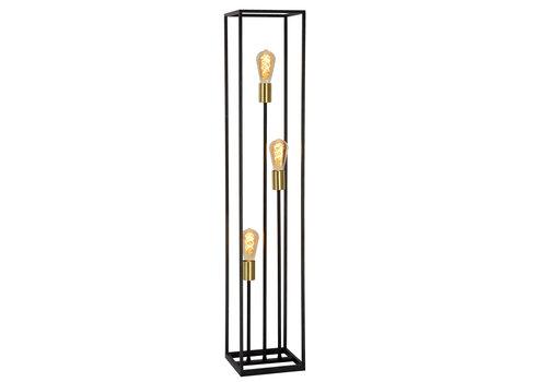 Lucide RUBEN  Vloerlamp 3x E27 40W Zwart / mat goud