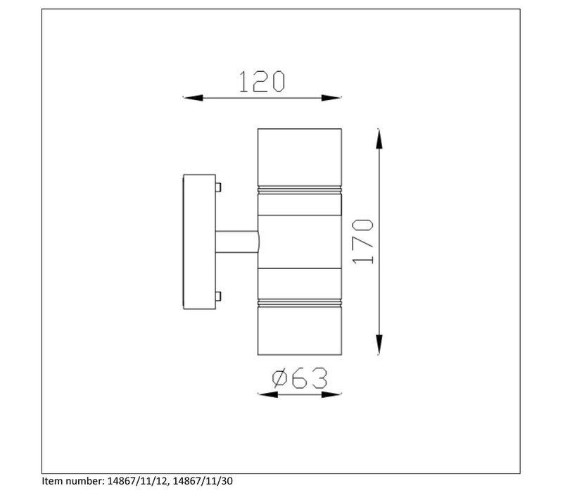 ARNE-LED Wandlicht 2xGU10/5W 2700K Zwart