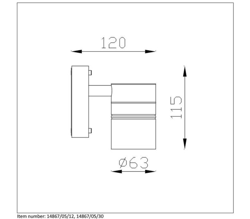 ARNE-LED Wandlicht 1xGU10/5W Mat Chroom