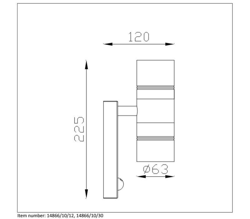 ARNE-LED Wandlicht +IR 2xGU10/5W 2700K Mat Chroom