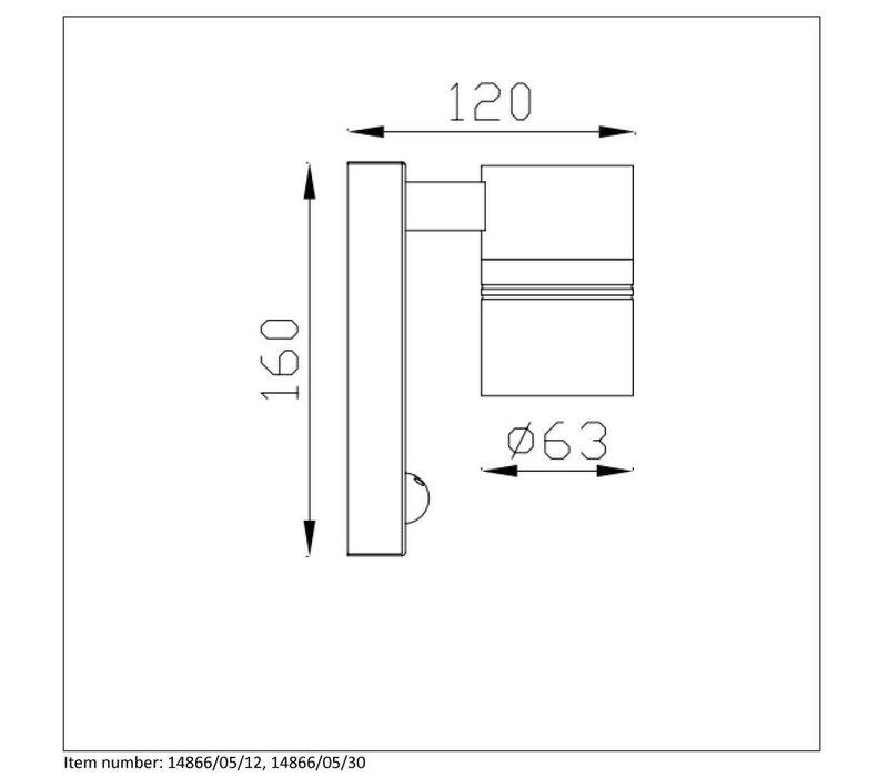 ARNE-LED Wandlicht +IR 1xGU10/5W 2700K Noir
