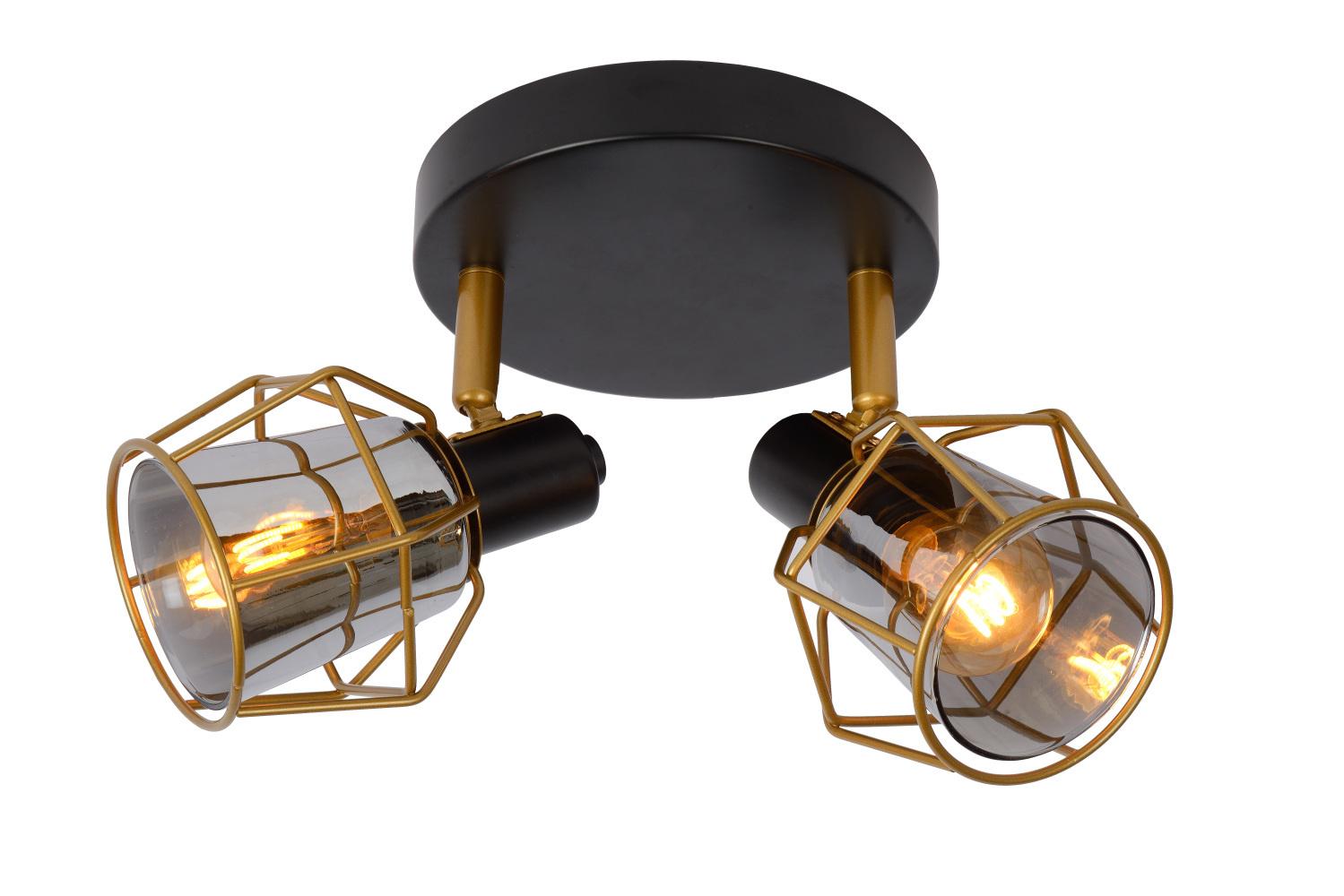 Lucide NILA Plafondspot 2x E14/25W Zwart / Smoke Glas