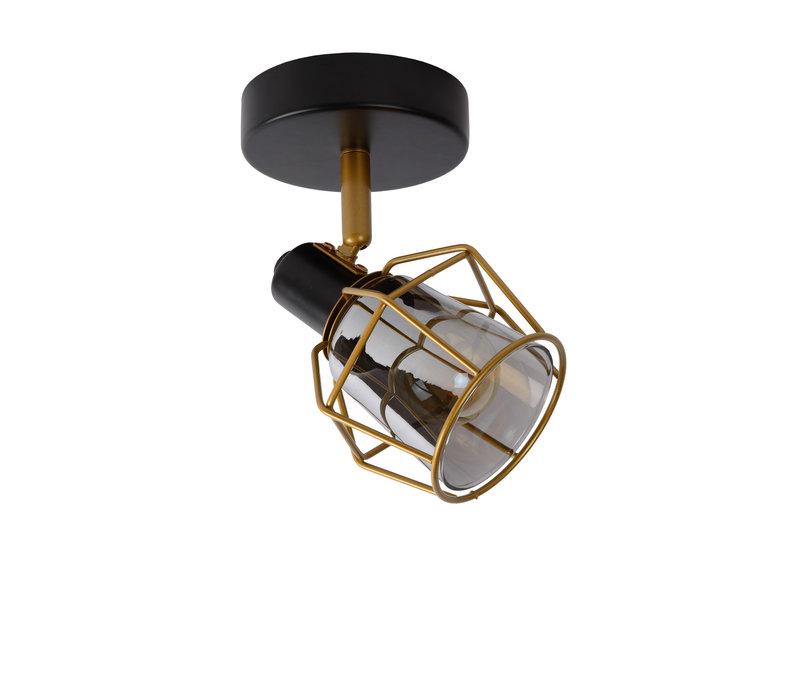 NILA Plafondspot 1x E14/25W Zwart / Smoke Glas