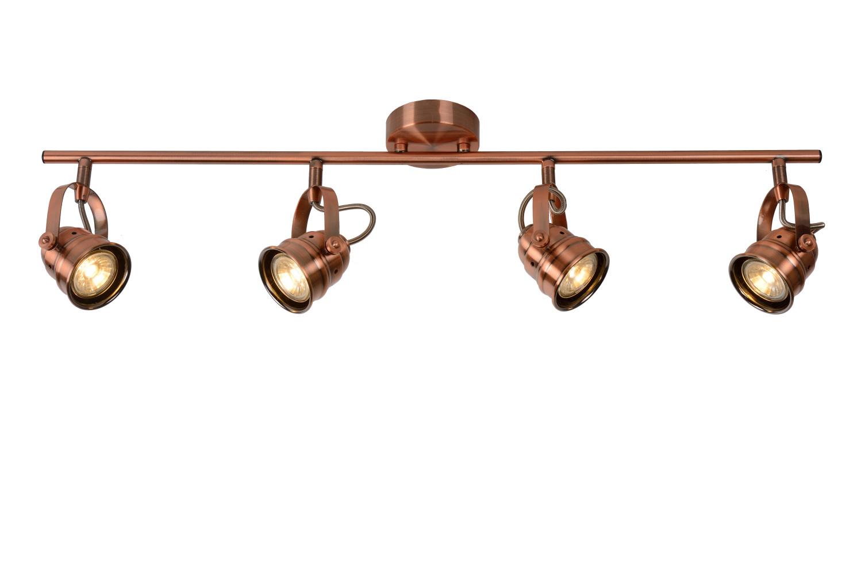 Lucide CIGAL Plafondspot-Koper-Ø9-LED-4xGU10-5W-2700K