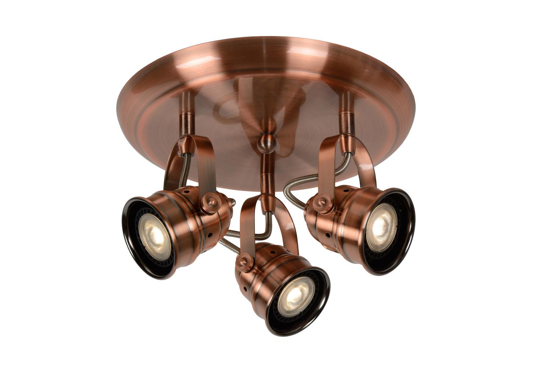 Lucide CIGAL Spot LED 3xGU10/5W 350LM 2700K Rood Koper