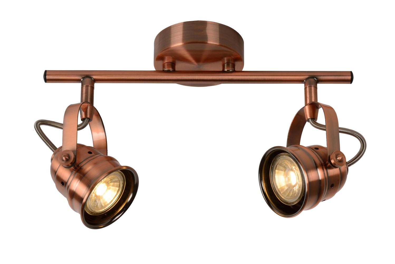 Lucide CIGAL Plafondspot-Koper-Ø9-LED-2xGU10-5W-2700K
