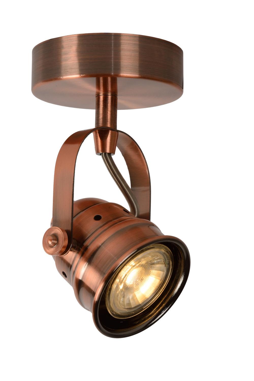 Lucide CIGAL Spot LED 1xGU10/5W 350LM 2700K Rood Koper