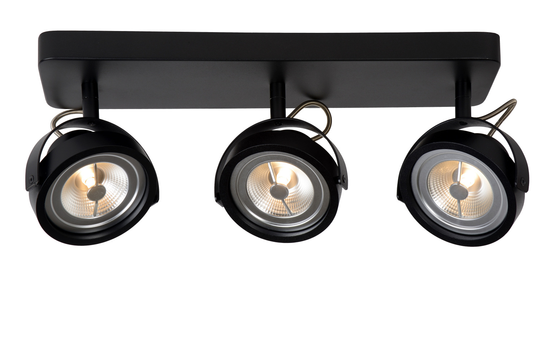 Lucide TALA LED Spot 3xG53/AR111-12W 600LM 2700K Zwart