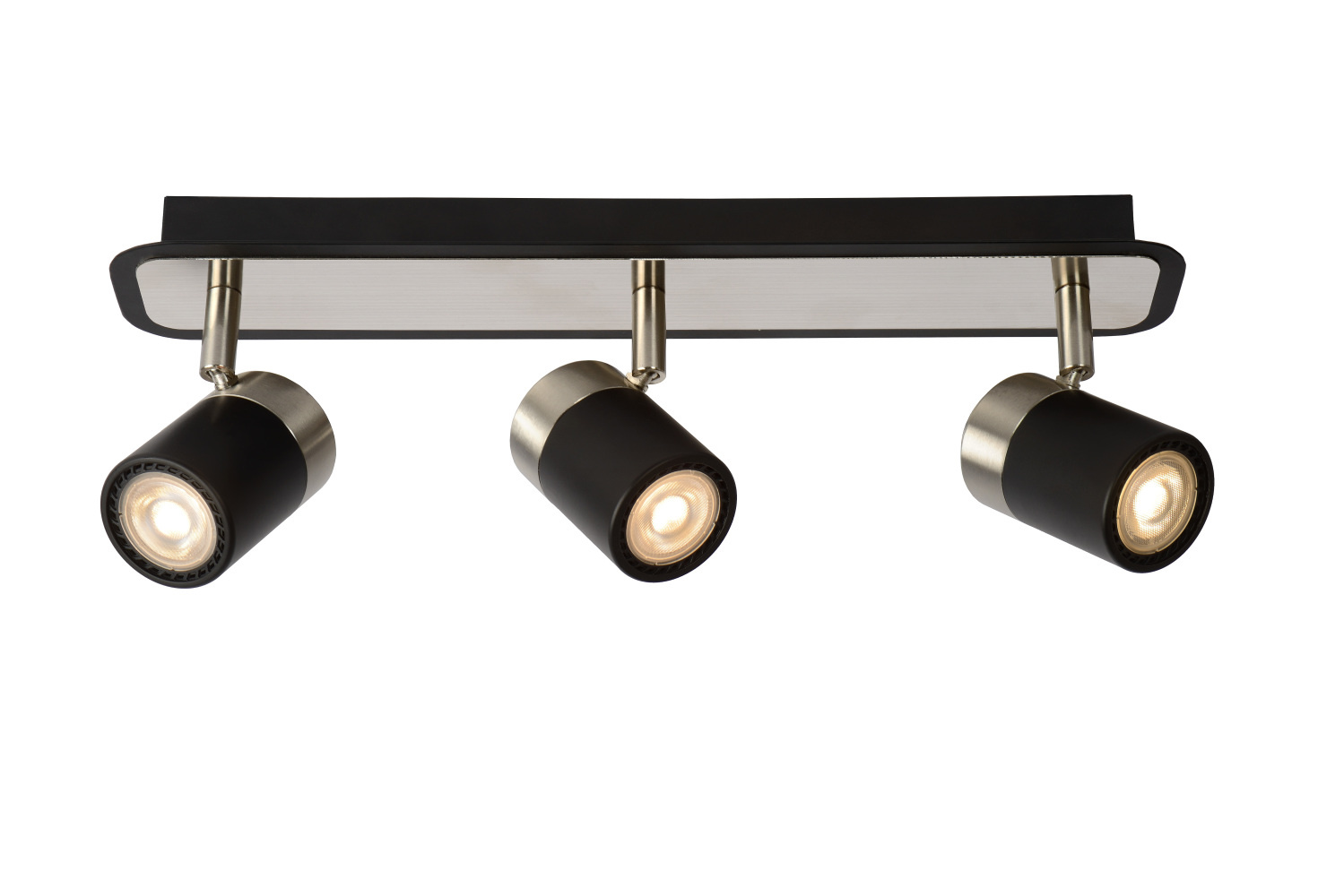 Lucide LENNERT Plafondspot-Zwart-LED Dimb.-3xGU10-5W