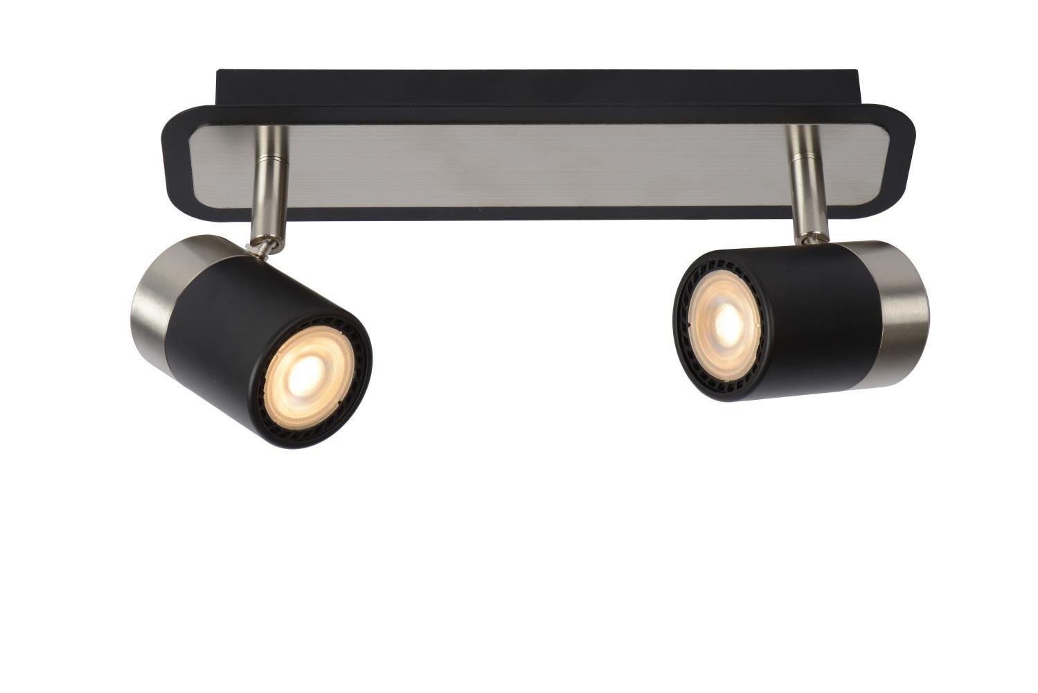Lucide LENNERT Plafondspot-Zwart-LED Dimb.-2xGU10-5W
