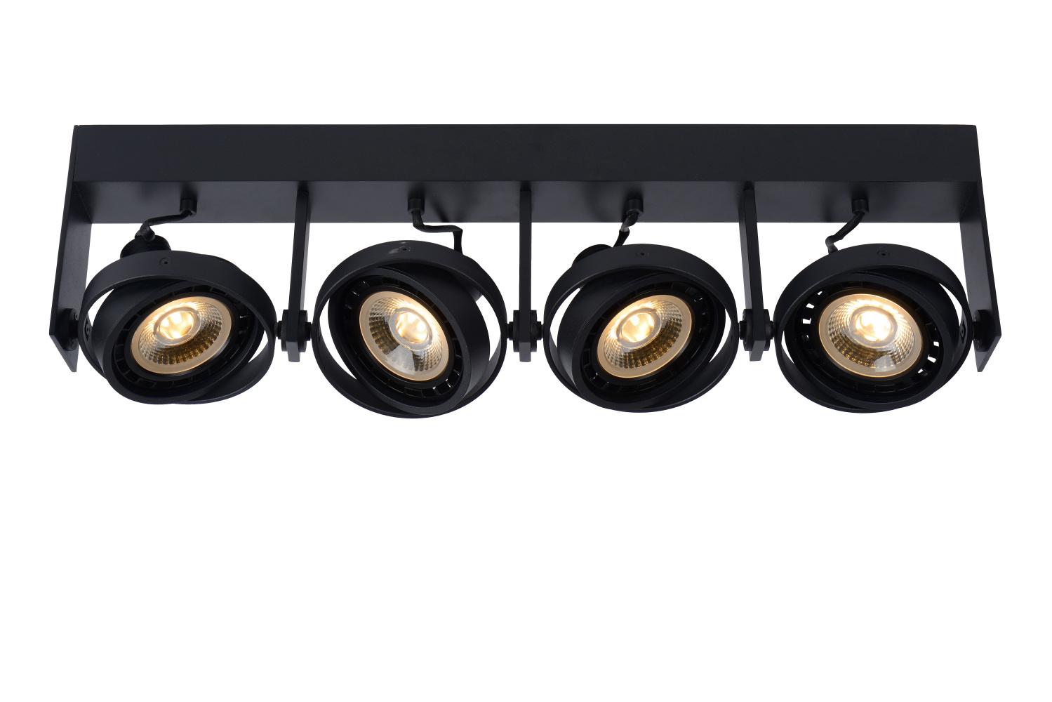 Lucide GRIFFON Plafondspot Dim-to-warm 4xGU10 12W Zwart