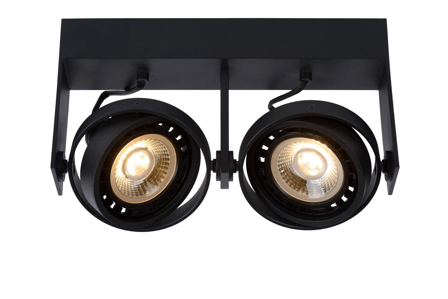 Lucide GRIFFON Plafondspot Dim-to-warm 2xGU10 12W Zwart