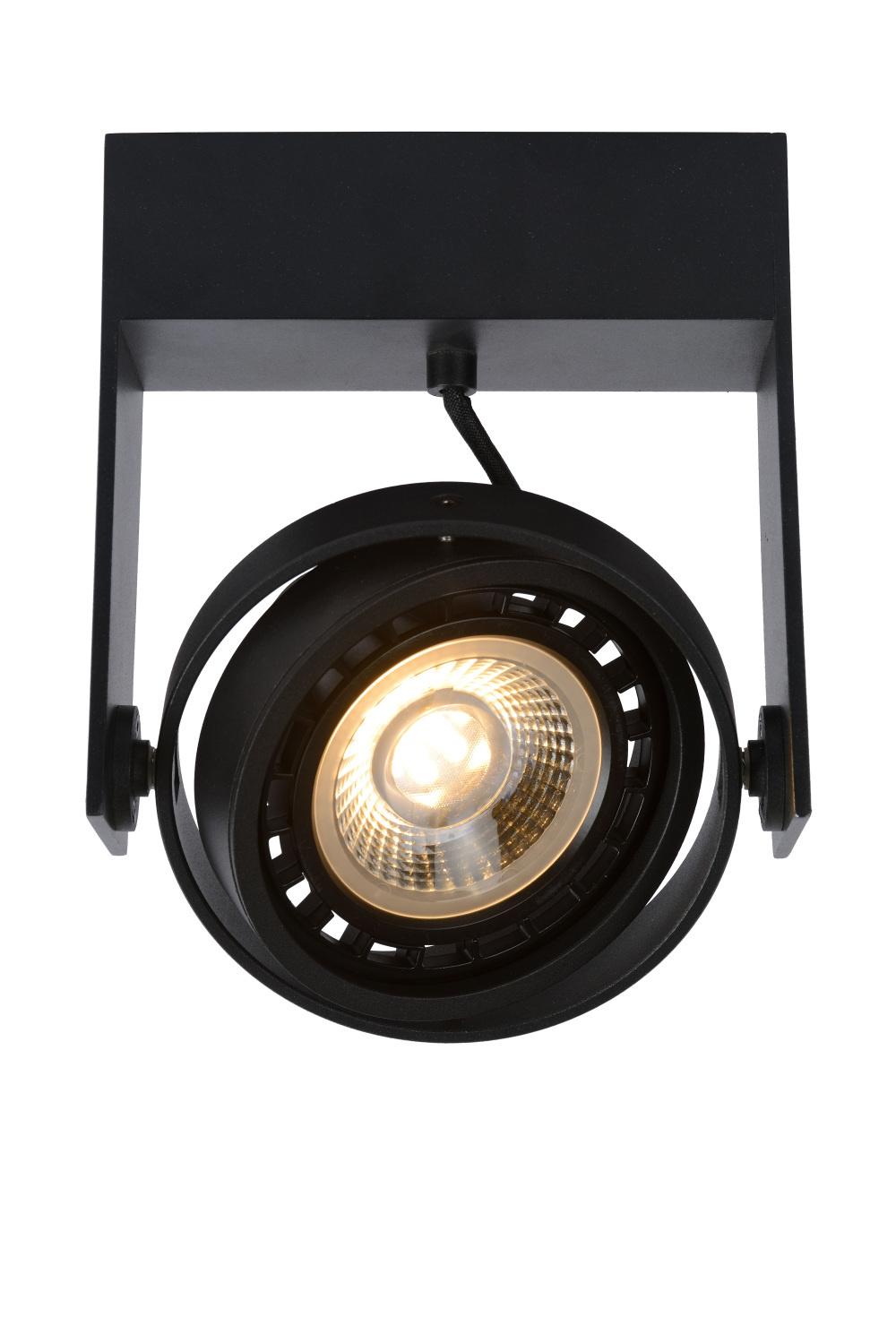 Lucide GRIFFON Plafondspot Dim-to-warm 1GU10 12W Zwart