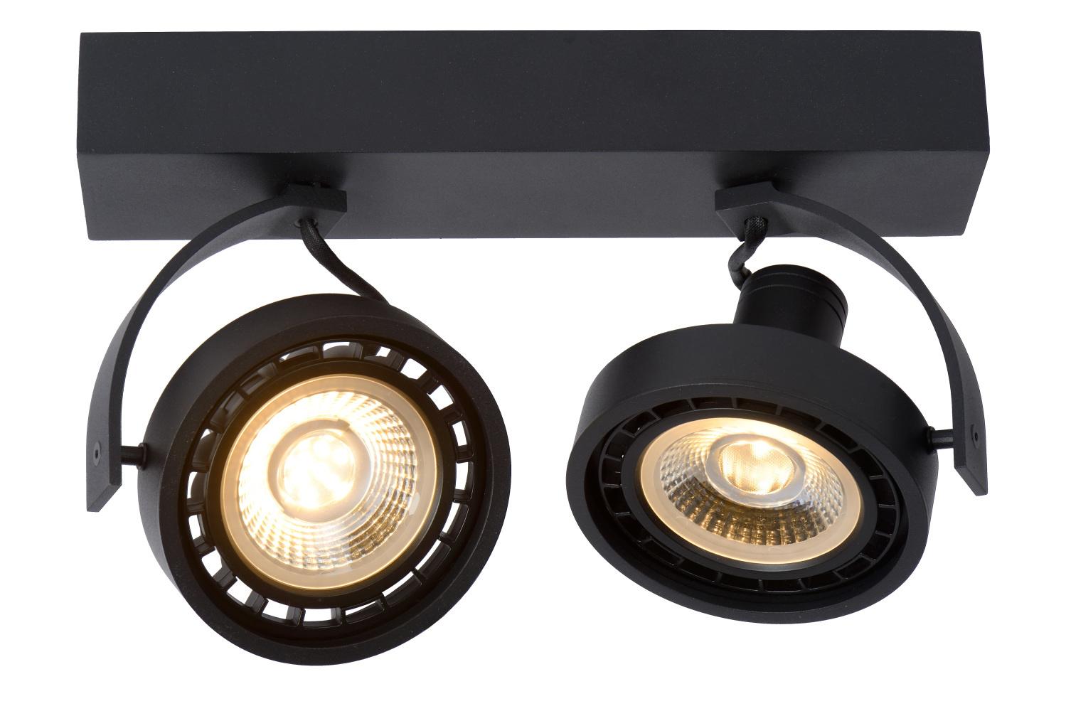 Lucide DORIAN Plafondspot-Zwart-LED DTW-2xGU10-12W