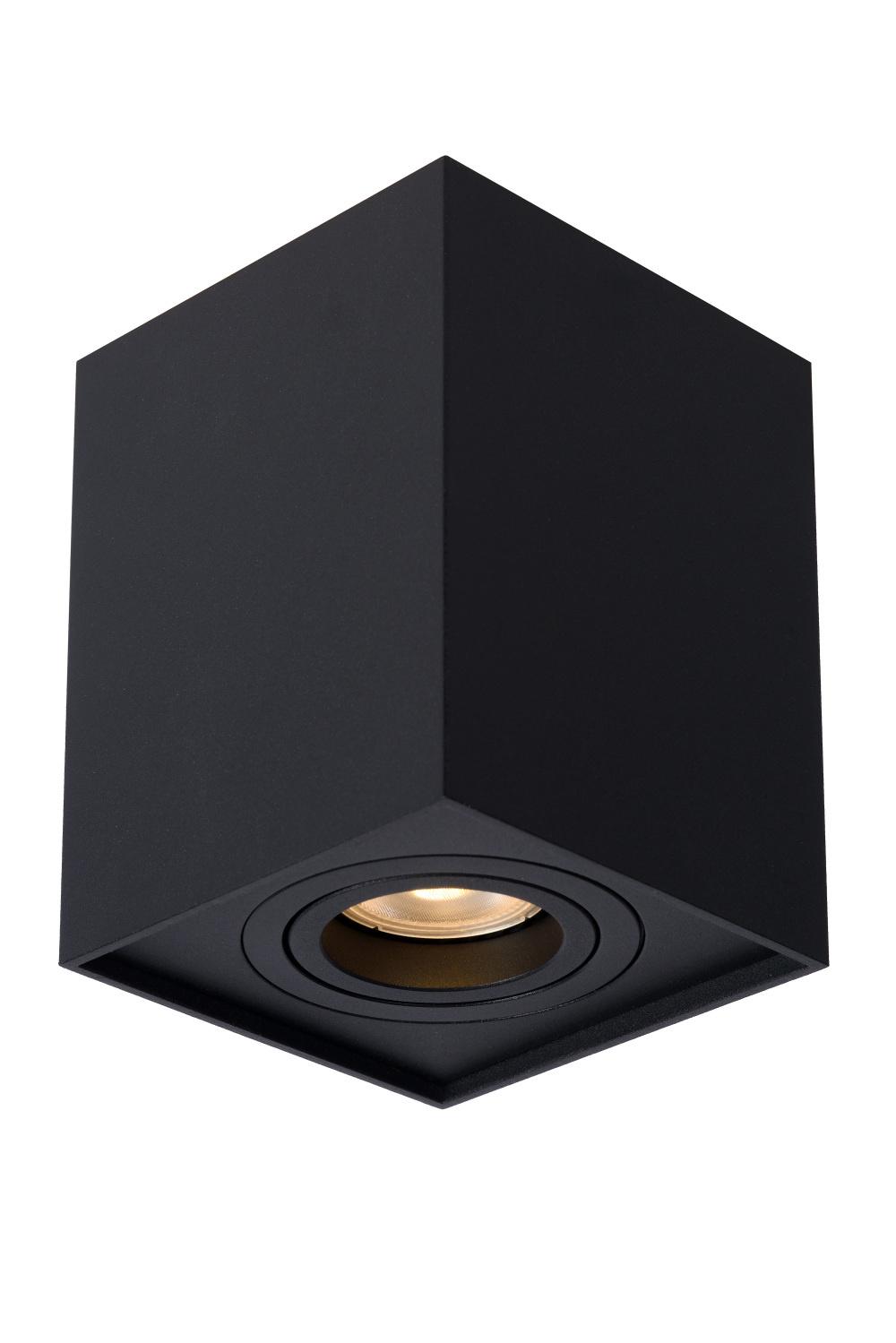 Lucide TUBE Spot GU10 Opbouw Vierk 9.6/9.6/12.5cm Zwart