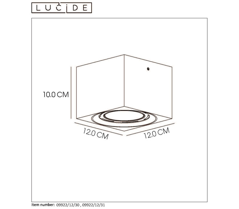 FEDLER Plafondspot Dim-to-warm GU10 Vierkant Zwa