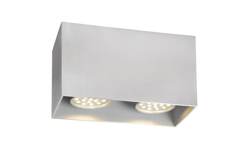 Lucide BODI Plafondspot-Mat ch.-2xGU10-50W-Alumin.