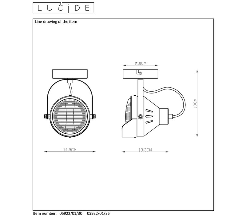 CICLETA Plafondspot 1xGu10/35W Zwart