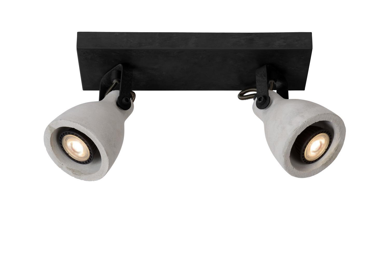 Lucide CONCRI-L. Plafondspot-Zwart-LED Dimb.-2xGU10-5W
