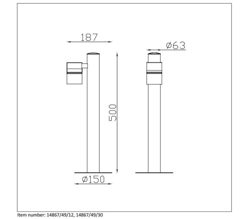 ARNE-LED Buitenlicht Paal H50cm 1xGU10/5W 350LM