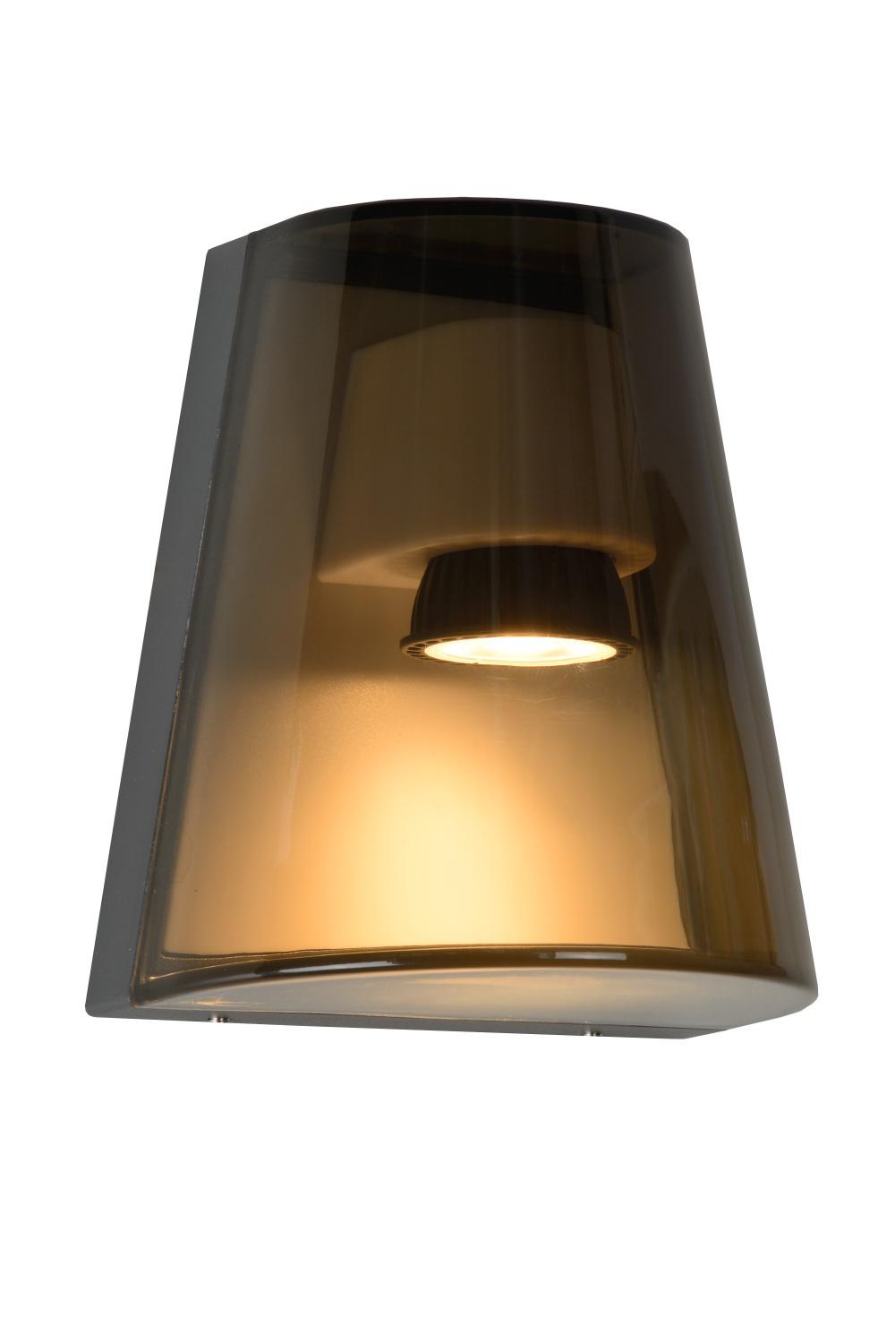 Lucide FREO Wandlicht IP54 GU10/12W H16.6cm Rookglas