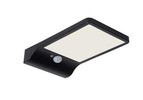 Lucide BASIC Wandlicht Solar+ Sensor IP44 11/19/3cm Zwart