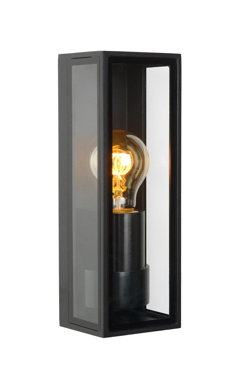 Lucide DUKAN Wandlamp Buiten-Zwart-1xE27-15W-IP65-Glas