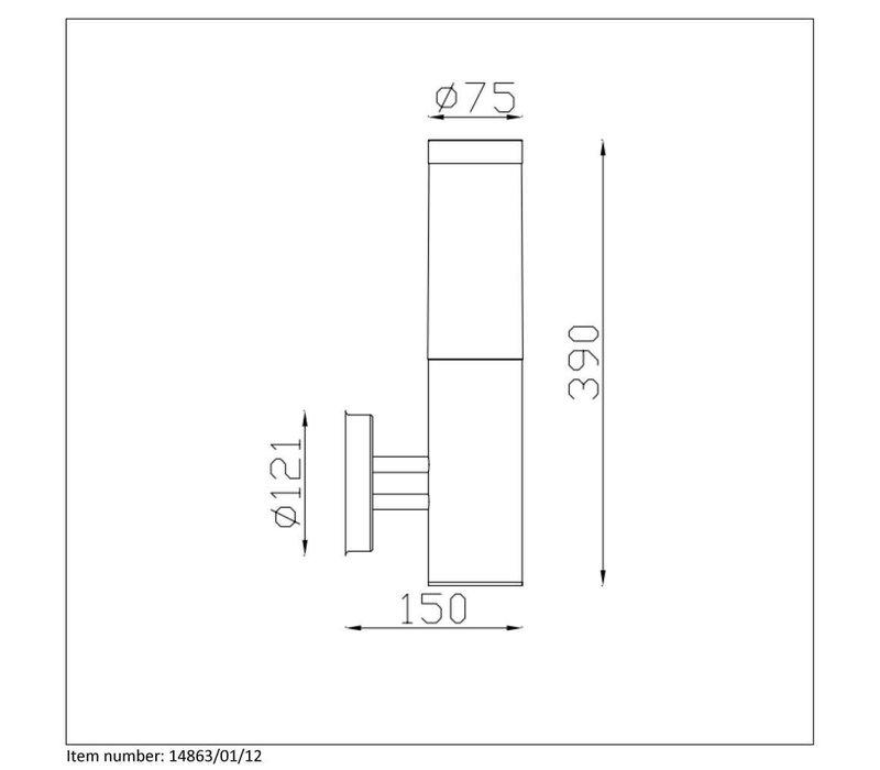 KIBO  Wandlicht IP44  E27 H39,5cm Mat Chroom