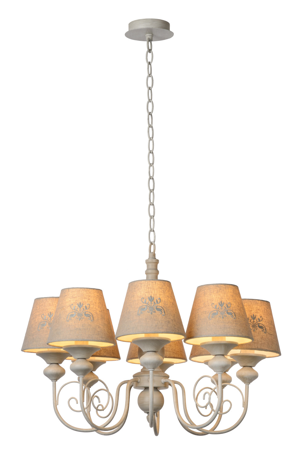 Lucide ROBIN Kroonluchter-Taupe-Ø59-8xE14-40W-Metaal
